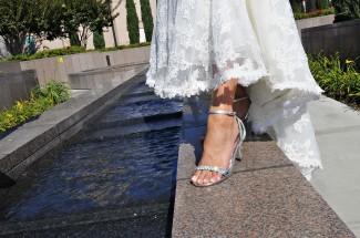 Fancy wedding shoes for LDS brides