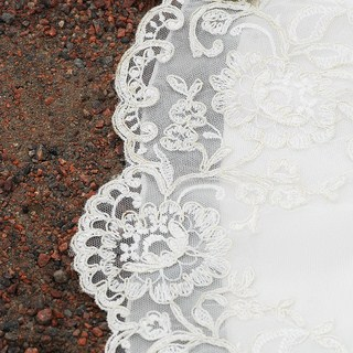 LDS wedding gown with lace edging