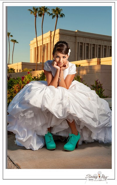 a bride with blue shoes