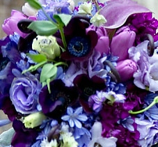 Purple LDS wedding flowers