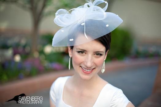 A bridcage Bridal hat for an LDS bride
