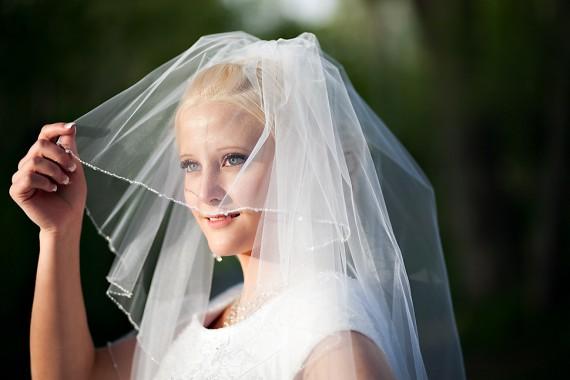 bridal veil trim for LDS brides