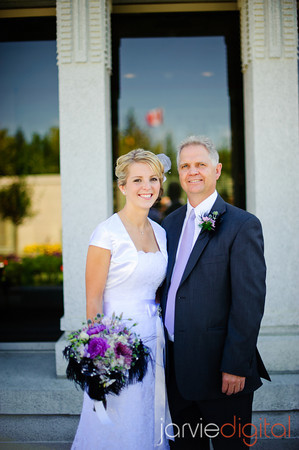 An LDS bride with her father
