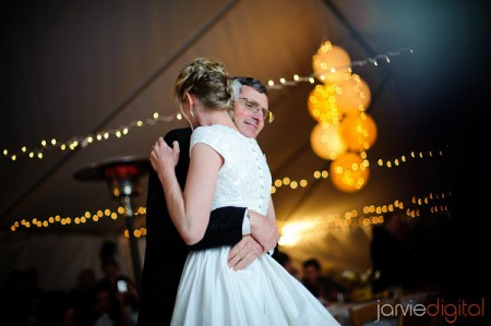 Father of an LDS bride dancing with his daughter