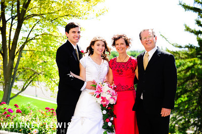 An LDS bride with her parents