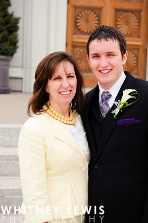 Mother of an LDS groom with her son