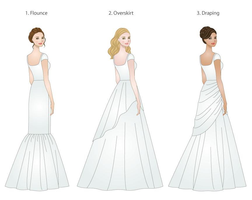skirt types for modest wedding dresses, modeled by WeddingLDS.com\'s ...