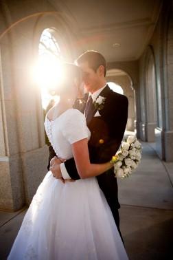 modest wedding dresses, photo by Douglas Miranda photography, WeddingLDS.com