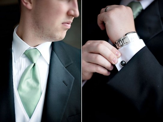 Cufflinks and matching ties for LDS grooms and groomsmen