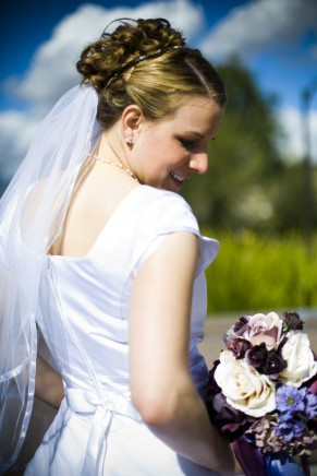 how to save money on modest wedding dresses, photo by Amelia Lyon, WeddingLDS.com