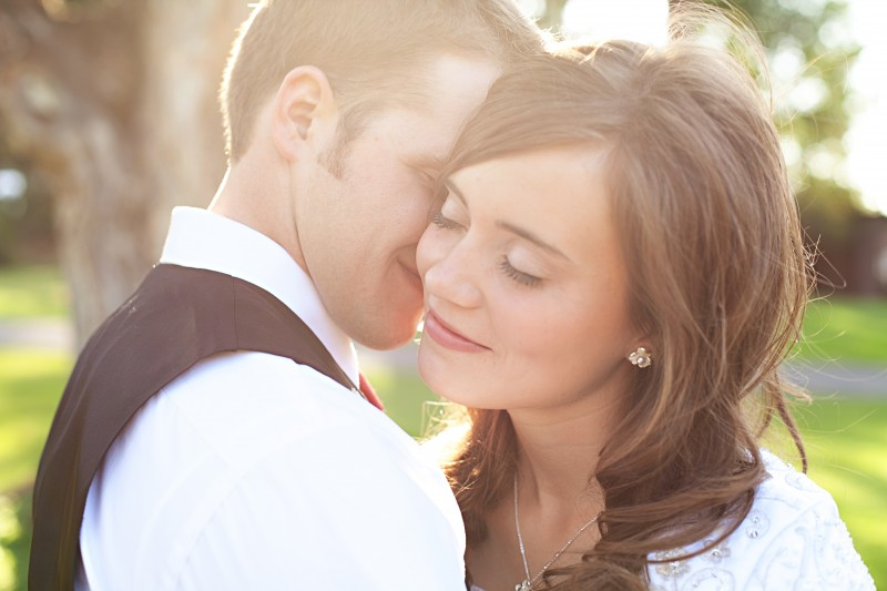 An LDS bride and groom during their wedding reception