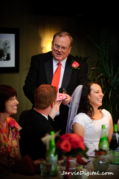 LDS bride and groom being toasted by the Father of the bride