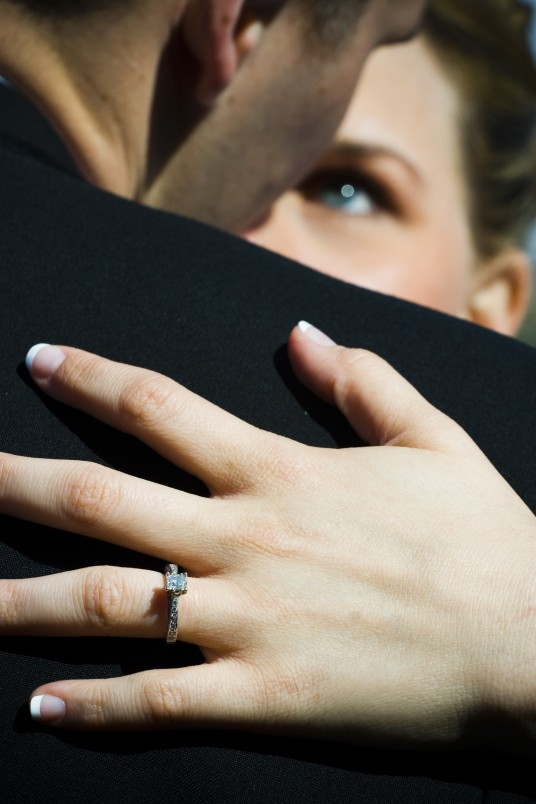 LDS bride and groom with wedding ring