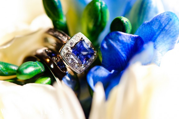 an heirloom ring with a sapphire center stone