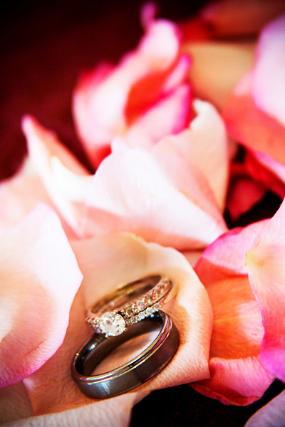 LDS wedding rings in rose petals