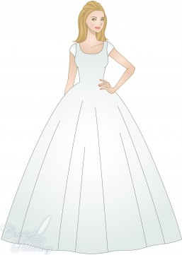 Ball Gown Silhouette modeled by WeddingLDS.com's signature bride