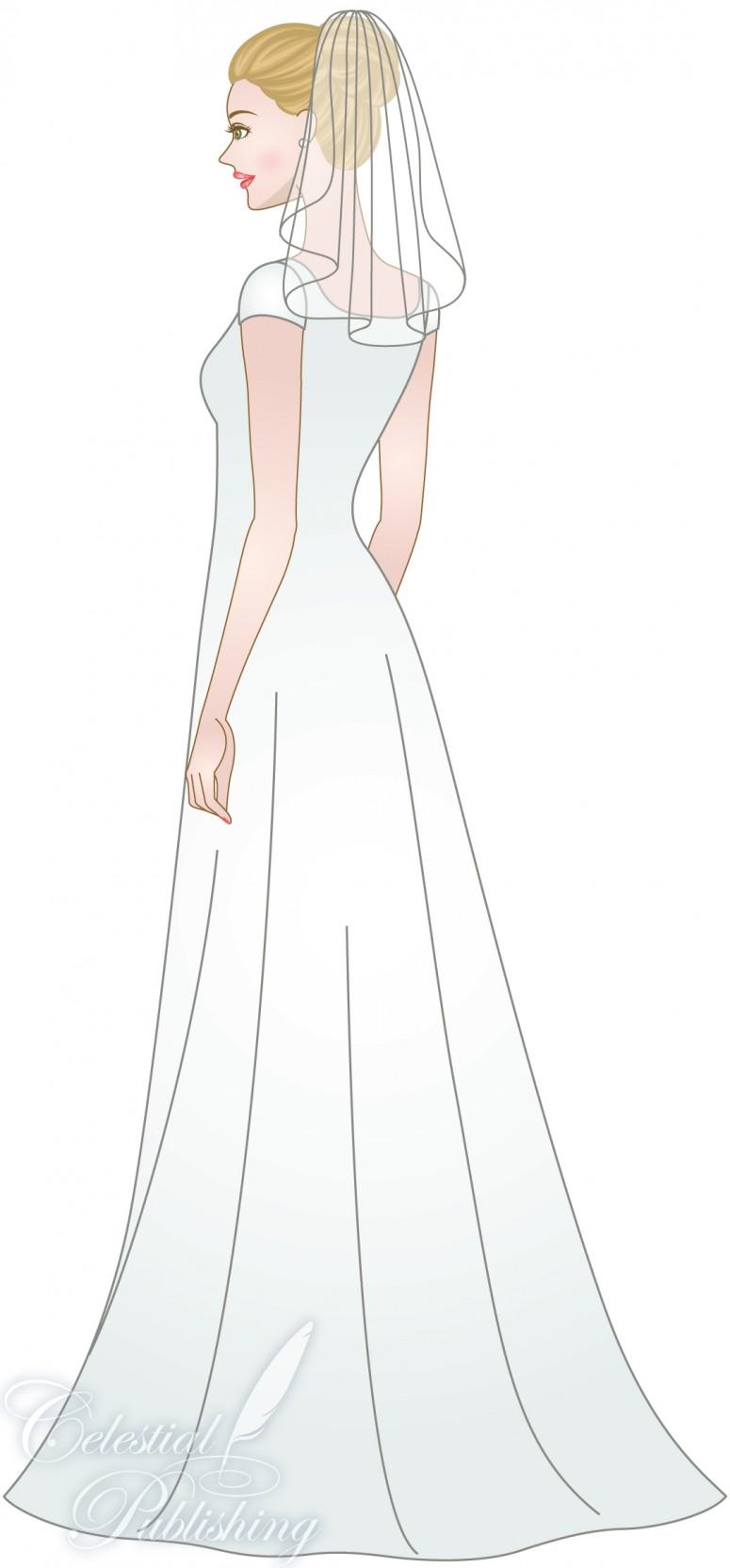 Modest Wedding Dresses, LDS temple weddings, WeddingLDS.com's signature bride modeling shoulder lenght veil