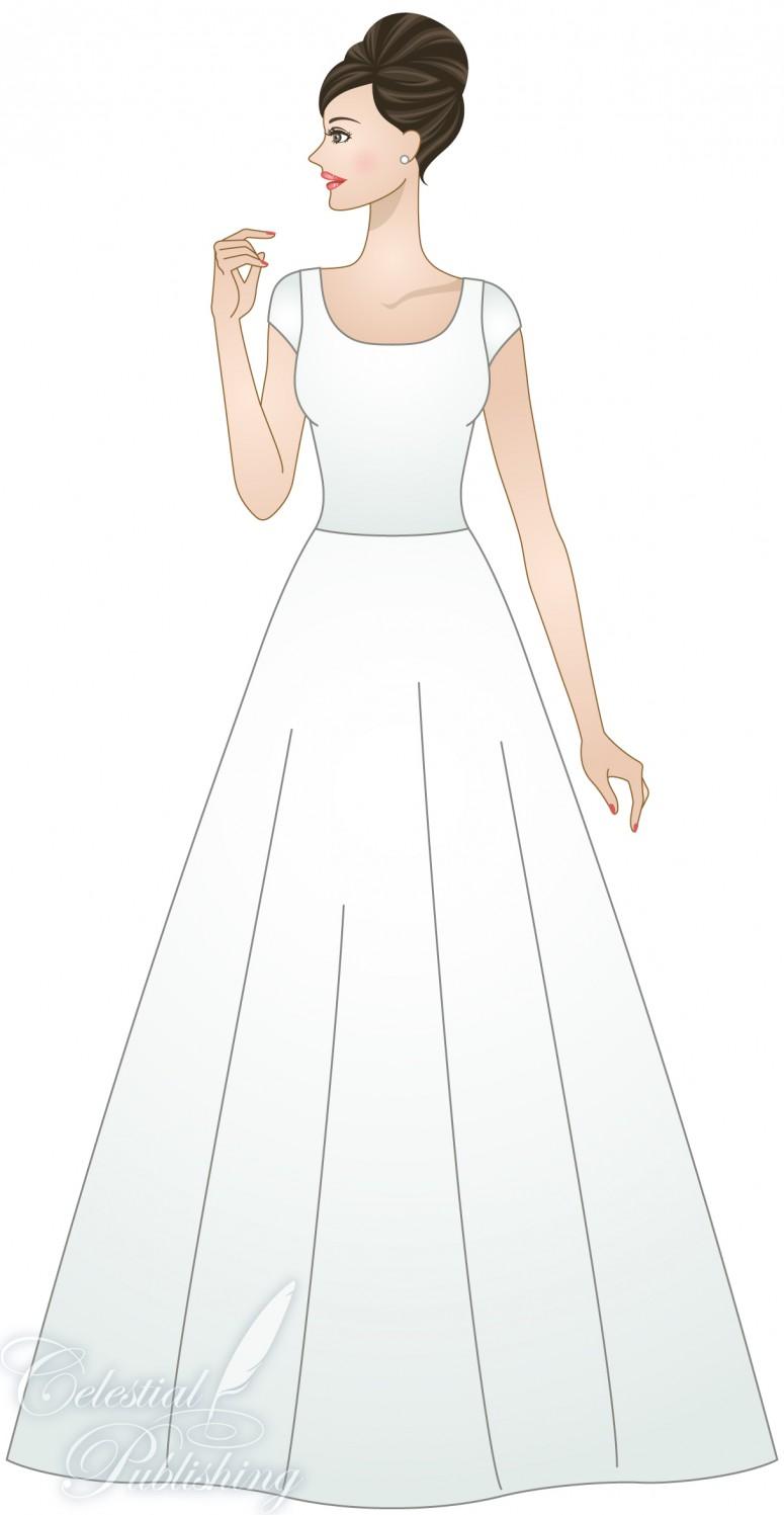 Modest Wedding Dresses, LDS temple weddings, WeddingLDS.com's signature bride modeling Natural Waistline