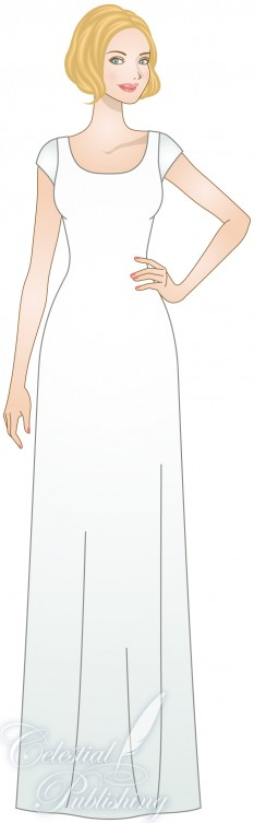 Modest Wedding Dresses, LDS temple weddings, WeddingLDS.com's signature bride modeling sheath or column silhouette