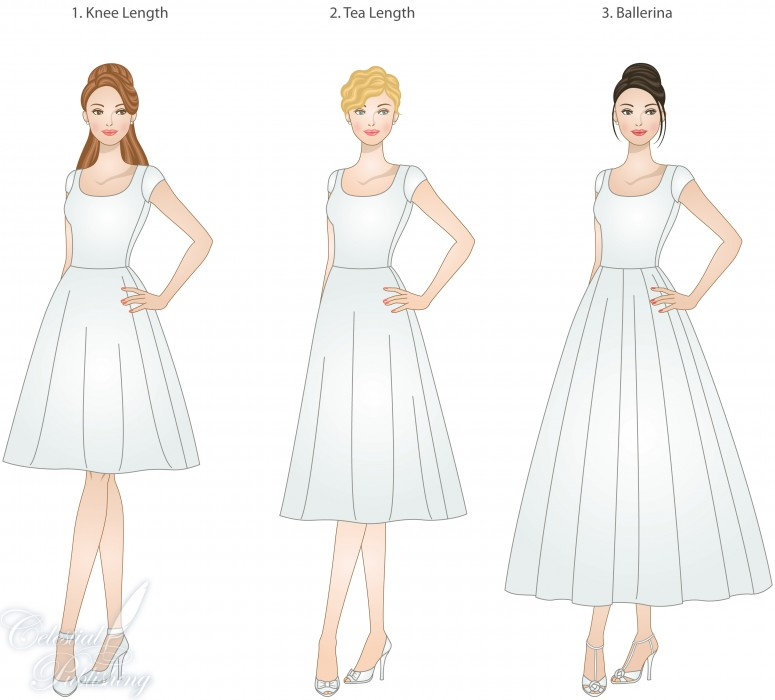 skirt lengths for modest wedding dresses, modeled by WeddingLDS.com's signature brides