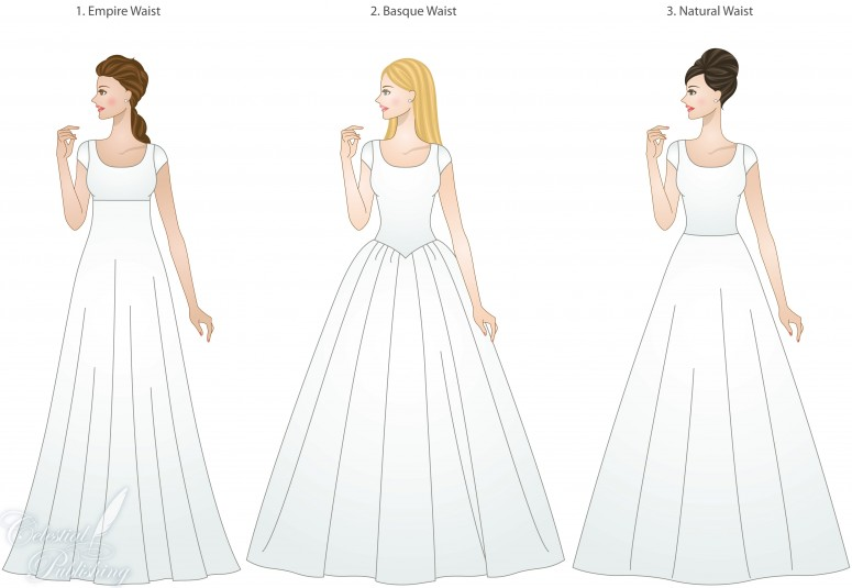 Waistline types for modest wedding dresses, modeled by WeddingLDS.com's signature brides