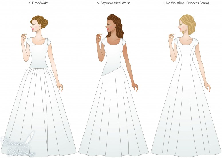 Modest wedding gowns, waistline types, modeled by WeddingLDS.com's signature brides