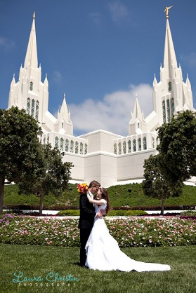 LDS bridesmaid and groomman