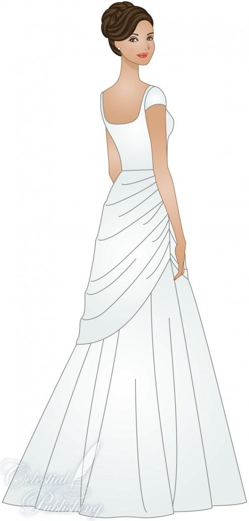 Modest Wedding Dresses, LDS temple weddings, WeddingLDS.com's signature bride modeling a draping skirt