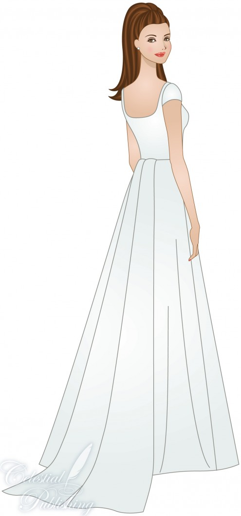 Modest Wedding Dresses, LDS temple weddings, WeddingLDS.com's signature bride modeling a streamers and tails skirt