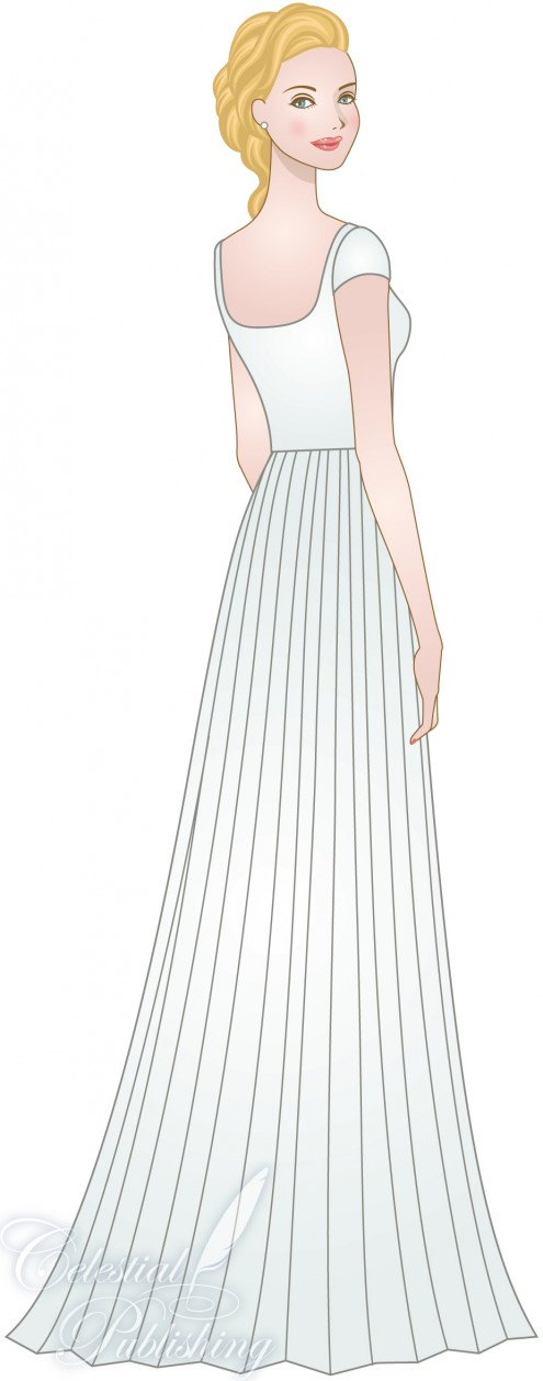 Modest Wedding Dresses, LDS temple weddings, WeddingLDS.com's signature bride modeling a pleated skirt