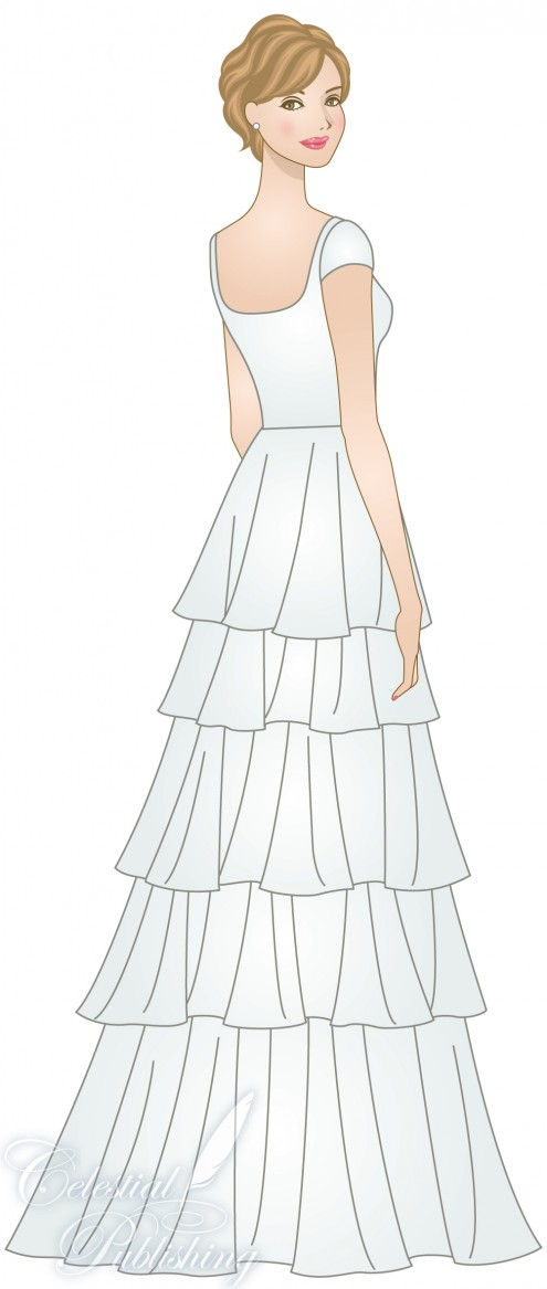 Modest Wedding Dresses, LDS temple weddings, WeddingLDS.com's signature bride modeling a tiered skirt