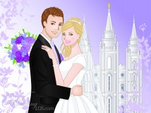 LDS bride blond, LDS groom red