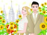 LDS bride blond, LDS groom black