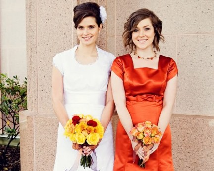 LDS Bride and Maid of Honor, Real Mormon wedding