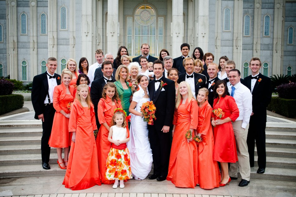 Featured Real LDS Wedding, Family Group Picture