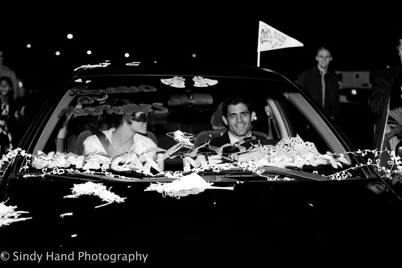 LDS Bride and Groom leave in car, Featured Real LDS Wedding
