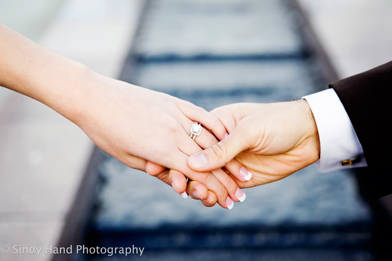LDS Bride and Groom holding hands, Featured Real LDS Wedding