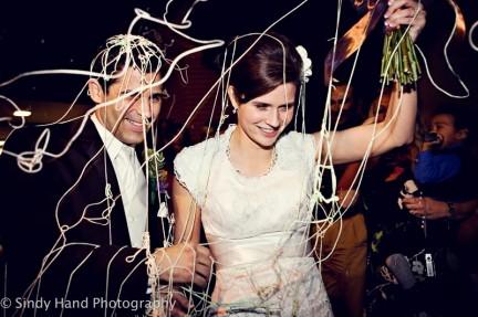 LDS Bride and groom make an exit, WeddingLDS.com