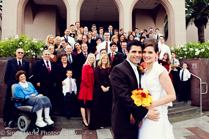 Featured Real LDS Wedding, LDS Bride and groom with wedding guests