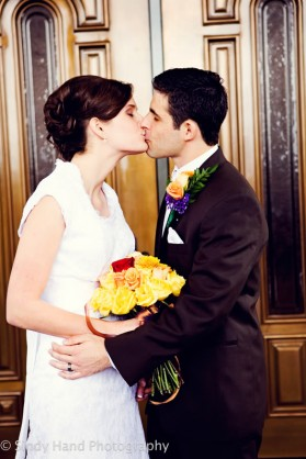 LDS bride and Groom kissing
