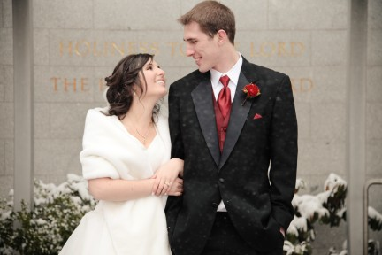 Real Mormon wedding, LDS Bride and Groom