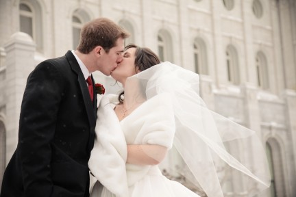 Bride and Groom kissing, Real Mormon wedding