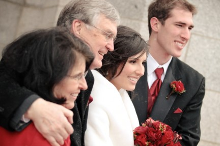 LDS Wedding Couple with Parents, WeddingLDS.com