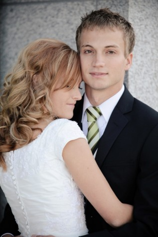 LDS bride and groom, featured lds wedding