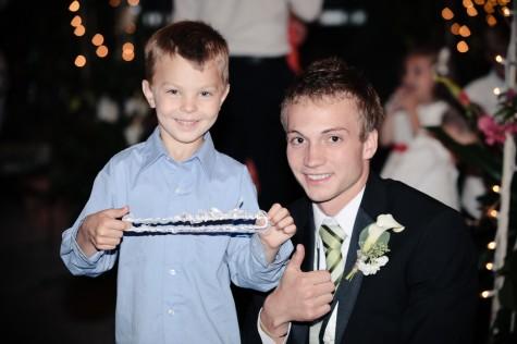 LDS wedding reception, Groom and the garter toss, WeddingLDS.com