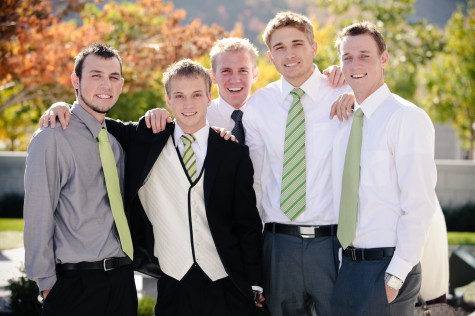 Real Mormon wedding, LDS Groom with friends