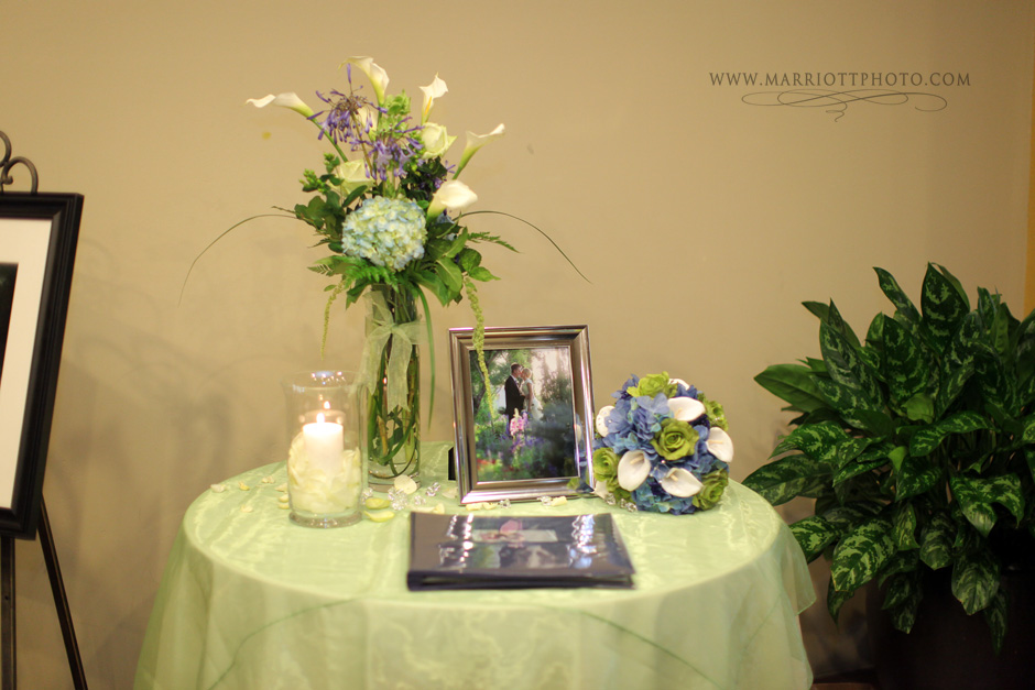 guest book table at a real LDS wedding reception
