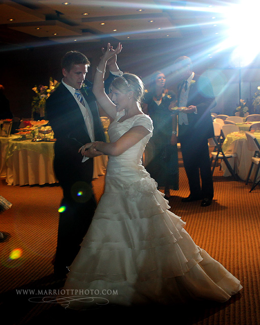 LDS bride and groom dance at their LDS Wedding reception