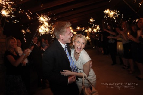 Real Mormon wedding, LDS bride and groom exit from their reception