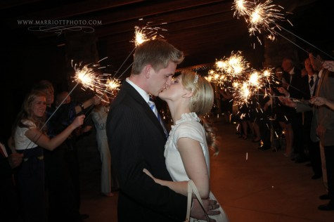 LDS bride and groom kiss